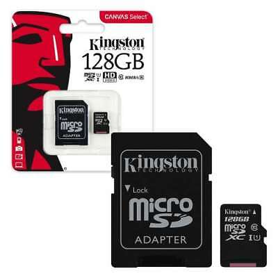 128GB Kingston Canvas Select Micro SD Memory Card 80MB/s UHS-1 Class 10 +ADOPTER
