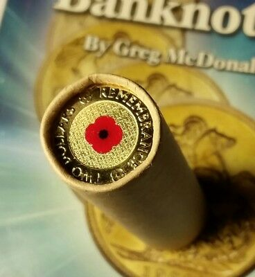 2012 $2 Dollar ANZAC Remembrance red poppy coin Roll