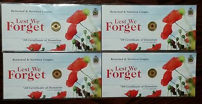 4 Rare Australia 2012 Anzac Remembered Day Red Poppy $2 Two Dollar Card RSL Coin