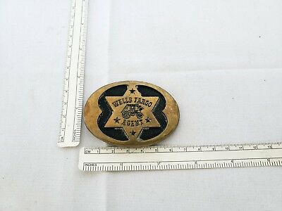 Vintage Wells Fargo agent brass belt buckle 125th Anniversary