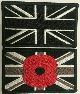Union Jack Poppy trf Embroidered iron on sew on badge Patch N-372