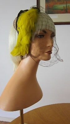1940,s original supa chic  Dayton Company hat with yellow feathers and face veil