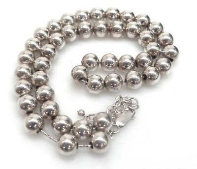 Stunning estate STERLING hollow BEAD NECKLACE 8mm On dainty chain SILPADA??