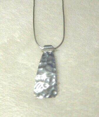 Stunning estate SILPADA sterling HAMMERED TAB Necklace snake chain N1592 retired
