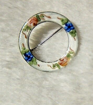 Beauty!  Estate vtg 40s-60s Guilloche FLORAL CIRCLE PIN BROOCH wht/multi FLOWERS