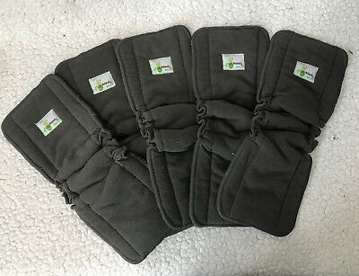 Naturally Natures Cloth Diaper Inserts 5 Layer Charcoal Bamboo Liners Lot of 5
