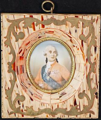 Miniature Portrait Painting Louis XVI in FAUX Tortoise Shell Frame w Brass Inlay
