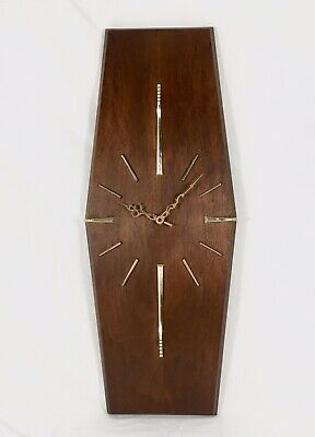 Vintage Sunbeam Mid Century Danish Modern Teak Wall Clock Mad Men Needs Repair