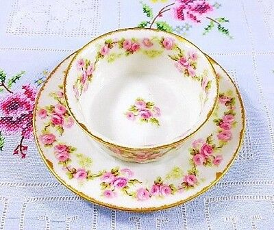 Elite Limoges Antique (1900 ~ 1914) Pink Roses Ramekin Saucer Set