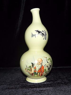 CHINESE WISE MAN DOUBLE GOURD VASE Antique Stoneware