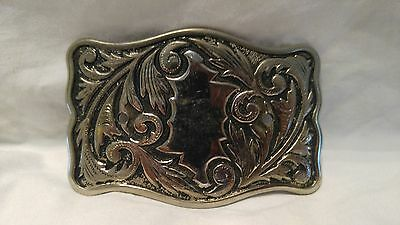 Vintage Silver Tone Decorative Belt Buckle 002