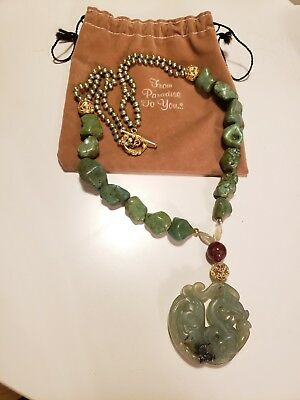 RARE CHINESE JADE PEARLS Natural green Gemstone Dragon Necklace Chunky artistic