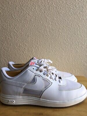 sports shoes 140a7 4e30a NIKE LUNAR FORCE 1 FUSE LEATHER WHITE RED SIZE MEN S 11 599839-100 PreOwned
