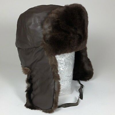 724b4a4c306 Vintage Brown Rabbit Fur and LEATHER Aviator  Trapper Hat Unisex Winter  headwear