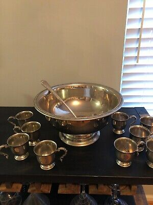 11 Piece Silver-plated Unmarked Punch Set