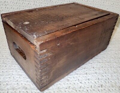 """primitive antique finger joint wood box w/ sliding lid and recessed handles 14"""""""