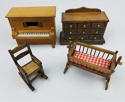 Vintage Doll House Furniture Wood Dollhouse Cradle Rocking Chair Dresser Piano