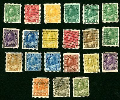 CANADA 1911-1925 USED SCOTT 104-104b 105-115 117-120 122 KING GEORGE V STAMPS