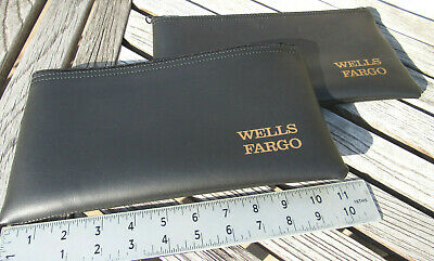 LOT OF 2 Wells Fargo Black Vinyl Money Deposit Bags Pouch Bank Totes