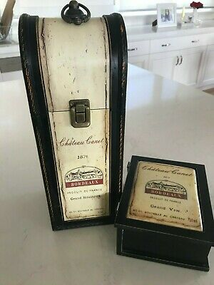Retro Vintage Style Wooden Wine Box Bottle Case PLUS Matching Box with lid
