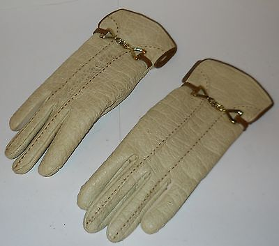 ARIS of PARIS WOMEN'S GLOVES, VINTAGE CREAM-COLORED, STYLISH & WARM,  SWEET!