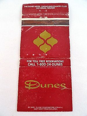 Matchbook Cover ~ THE DUNES Hotel Casino & Country Club Las Vegas NV Rear Str 30