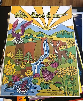 Vintage Poster United States  Environmental Agency  Life Pass It On'Nature 70s