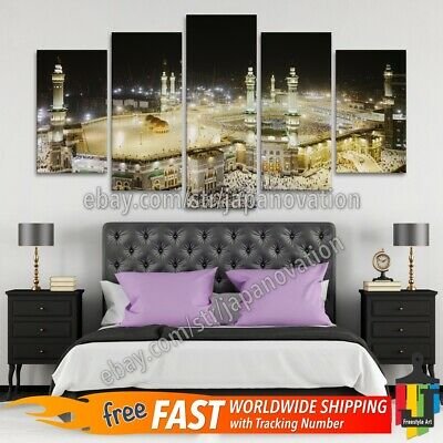 5 Pieces Home Decor Canvas Print Islamic Wall Art Mecca Great Mosque Kaaba Qibla