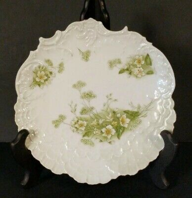 VTG BAVARIAN CHINA GERMANY Numbered, Scalloped, Raised Pattern White/Green Plate
