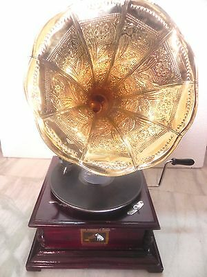 Antique Gramophone Phonograph Brass Crafted Horn Sound Box Needles