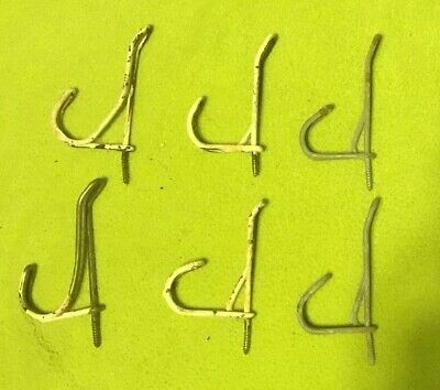 Vintage ~ Coat / Hat Hooks ~ Original ~ Screw In ~ Lot of Six
