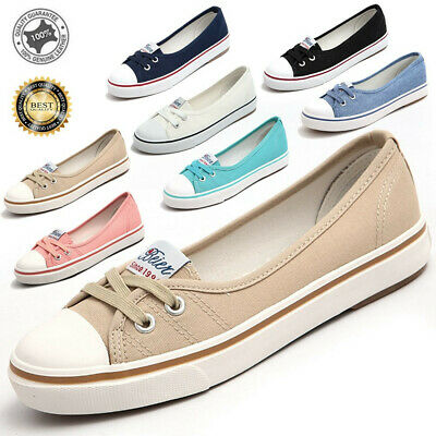 AU Womens Summer Canvas Slip On Flats Loafers Moccasin Casual Shoes Lace Up Size