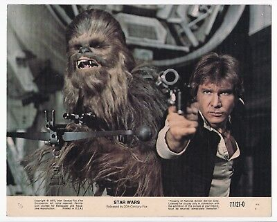 STAR WARS * Org US 77 8x10 LC #2 * GEORGE LUCAS * HARRISON FORD * CARRIE FISHER