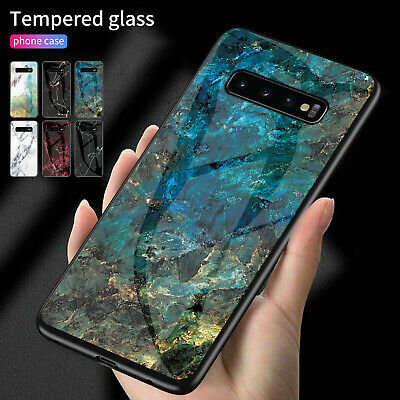 Phone Case For Samsung S10 Plus S9 S8 Glass Back Marble Hybrid Protective Cover