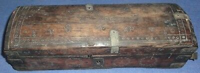 Vintage Antique Old Collectible Hand Carved Wooden Pen Box With Brass Design