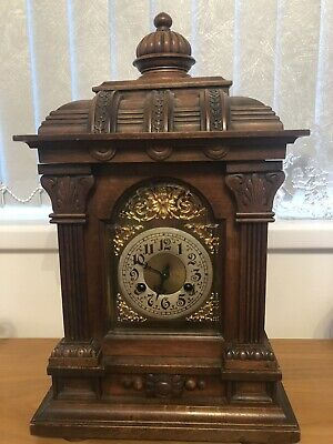Large Antique Wooden Bracket Clock In Working Order.