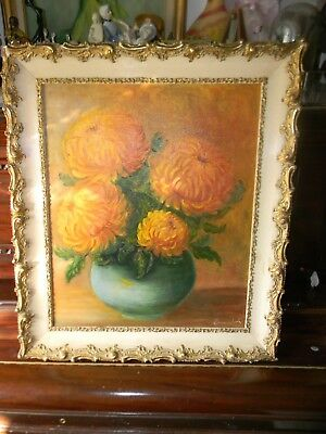 Original Vintage Floral Still Life OIL PAINTING in Gorgeous Frame- by DORIS WOOD