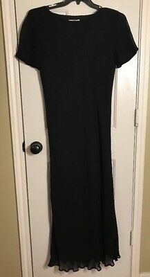 ST MICHAEL MARKS AND SPENCER Black Sheer Lined Long Dress Size: 12/14