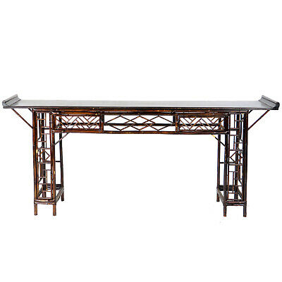 Vintage Antique 7 ft. long Chinese Bamboo Console Altar Table