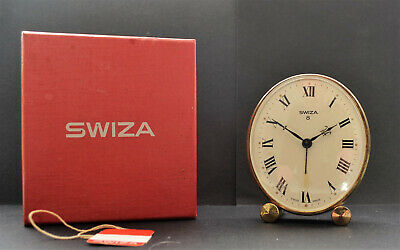 Good Quality Swiza Desk/bedside Clock With Original Box & Papers