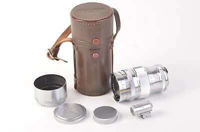 EXC+++ CANON 85mm F2 SERENAR LENS, + FINDER, CASE, HOOD, CAPS, LEICA SCREW MOUNT