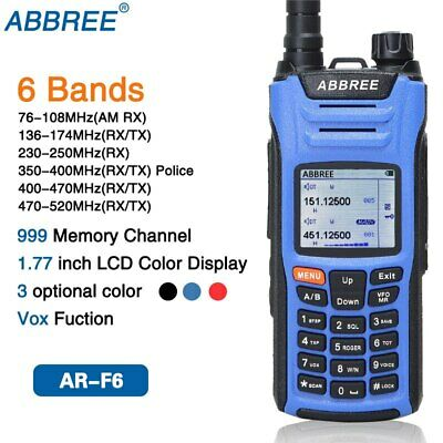 ABBREE AR-F6 6 Bands Dual Display Transceiver Walkie Talkie Ham Radio VOX DTMF