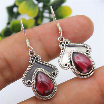 Vintage 925 Silver Garnet Pear Cut Dangle Drop Hook Party Jewelry Gift Earrings