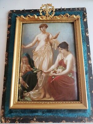 "Circa 1900 Paul Thumann Small Oil Painting ""The Thread Of Life"" Allegory Of The"