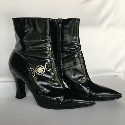 10e83d37afd Vintage Versace Black Patent Booties With Silver