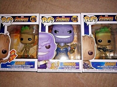 Funko Pop-Marvel Avengers Infinity War Brand New GROOT #293,#416 Thanos #289