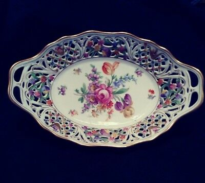 Vintage Schumann Bavaria Dresden Oval Fruit Vegtable Bowl!