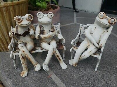 Antique Cast Iron Frogs On A Bench Doorstop/Garden Art VERY RARE!!!