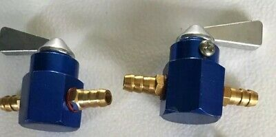 2x UNIVERSAL 6MM MOTORCYCLE IN-LINE PETROL On-OFF FUEL TAP  Blue