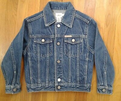 Vintage Calvin Klein Denim Jacket Kids Medium Boys Girls Toddler 90s Ck Jean